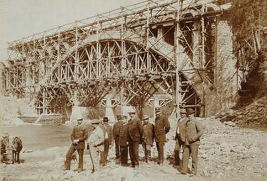 Яремче на будові мосту 1894-1896